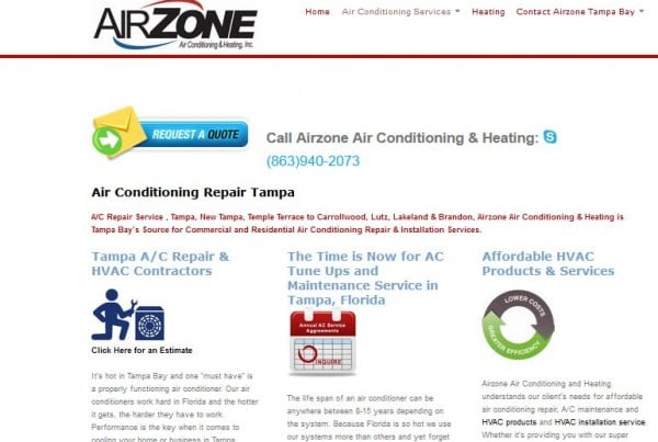 airzone ac and heating Tampa Florida web design